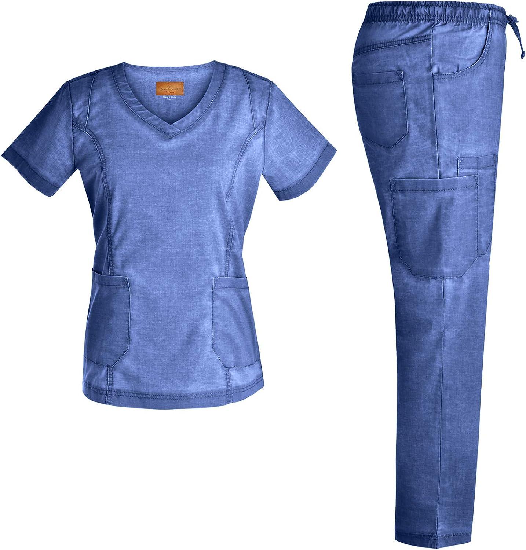 Stretch Nursing Medical Uniform Scrub Set  Nursing Women Scrubs JS1604 (Riviera, XS)