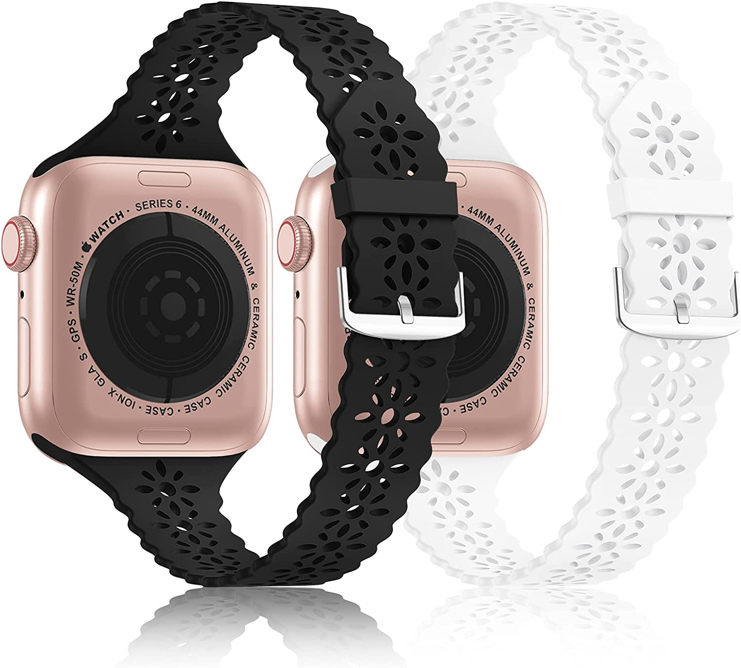 Seizehe Compatible for Apple Watch Bands 38mm 40mm 41mm 42mm 44mm 45mm Women Men, Breathable Soft Silicone Sport iWatch Bands Replacement Strap Compatible for iWatch Series 7/6/5/4/3/2/1/SE