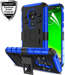 Motorola Moto G7 Play Case 2019 w/Screen Protector,Motorola Moto G7 Optimo Phone Case 5.7 inch,Kickstand Shockproof Heavy Duty Non Slip Bumper Rugged Protective Cover for Moto G(7th Gen) Play-Blue