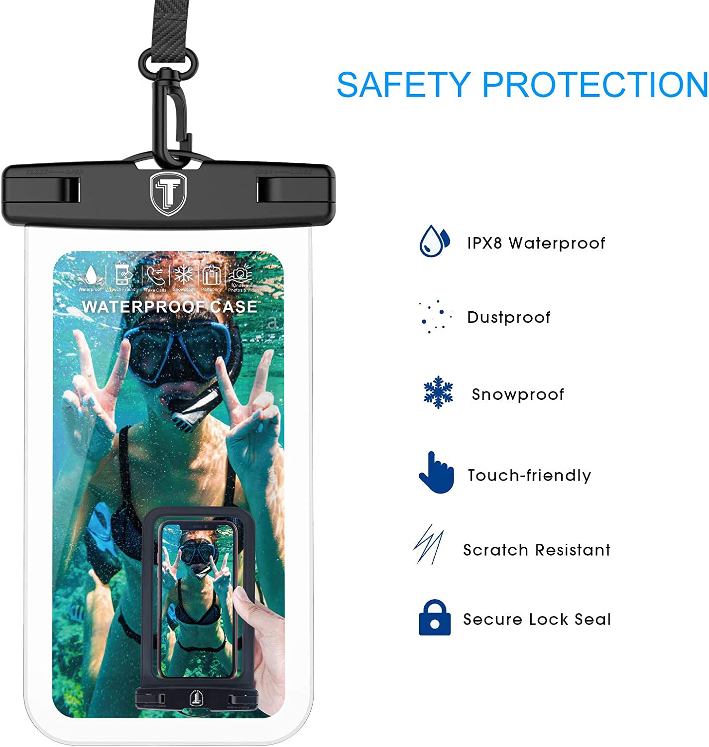 Tiflook Waterproof Pouch Phone Dry Bag Underwater Case Compatible with iPhone 12 Pro Max 11 XR X XS Max 8 7 6S 6 SE Samsung LG Moto TCL Phone Pouch for Beach with Lanyard Neck Strap, Clear (2 Pack)