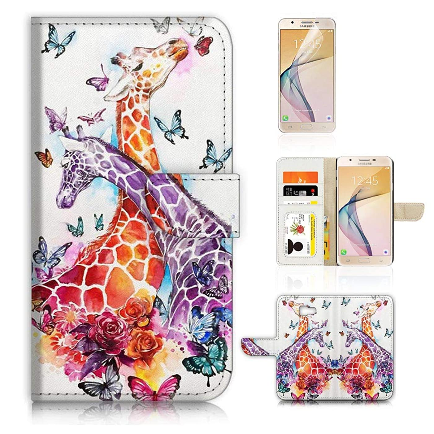(for Samsung J7 Prime / J7 V / J7 Perx / J7 2017 / J7 Sky Pro/Galaxy Halo) Flip Wallet Style Case Cover, Shock Protection Design with Screen Protector - B31193 Giraffe
