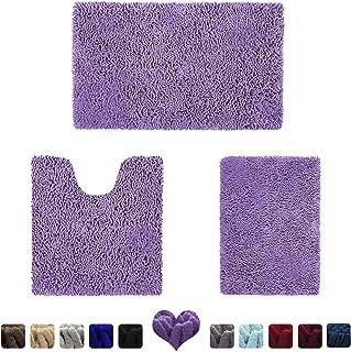 HOMEIDEAS 3 Pieces Bathroom Rugs Set Lavender, Luxury Soft Chenille Bath Mats Set, Absorbent Shaggy Bath Rugs & Slip Resistant Plush Carpets Mats for Tub, Shower, Bathroom