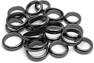 Hematite Rings for Women Men, Therapy Arthritis Anxiety Pain Relief, Balance Root Chakra (Pack of Mixed Size)