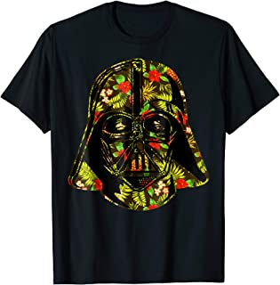 Hawaiian Print Darth Vader Helmet Graphic T-Shirt