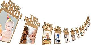 Flushbay 12ヶ月分のフォトフレーム 1歳 誕生日 飾り バルーン ピクチャーフレーム 紙製 吊り式 壁掛け 記念 DIY用 (B)