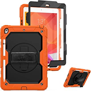 AMERTEER iPad 10.2 Case, 2019 iPad 7th Generation Case with Screen Protector Pencil Holder, 360° Rotatable Kickstand with ...