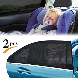 PandaHug 2PCS Rear Car Window Sun Shade Screen Cover Blocks UV Rays Mesh Sock Covers Rear Side Windows Protect Baby Pet Kids Children Dogs