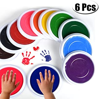 PartyYeah 6-Pcs Multicolors Baby Ink Pad for Baby Footprints Handprints Fingerprints Kit, Perfect Keep Baby Memory Baby Shower Gift