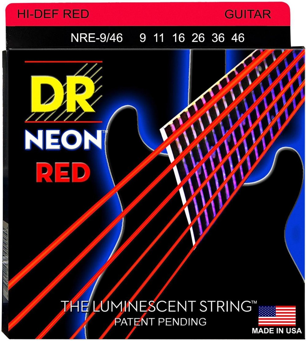 Cheap DR Strings Hi-Def NEON Red Coated Lite-Heavy (9-46) Electric Guitar Strings Black Friday & Cyber Monday 2019