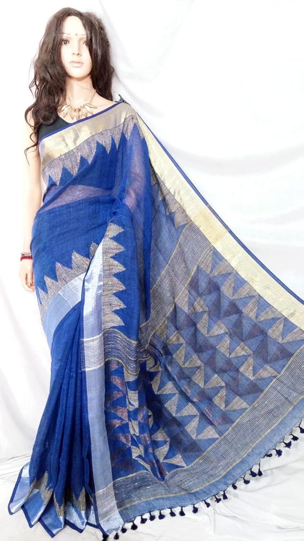 Beautiful Indian traditional Pure Linen Jamdani Sari Ethnic Handwoven Women saree Festive offer 100A