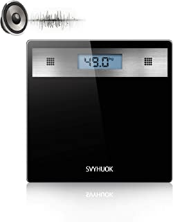 SVYHUOK Talking Body Weight Bathroom Scales, Instant Weight Reading, Electronic Glass Platform, High Precision Digital LCD Display, Large Glass Ultra Slim Scales, LBS and KG Measurement