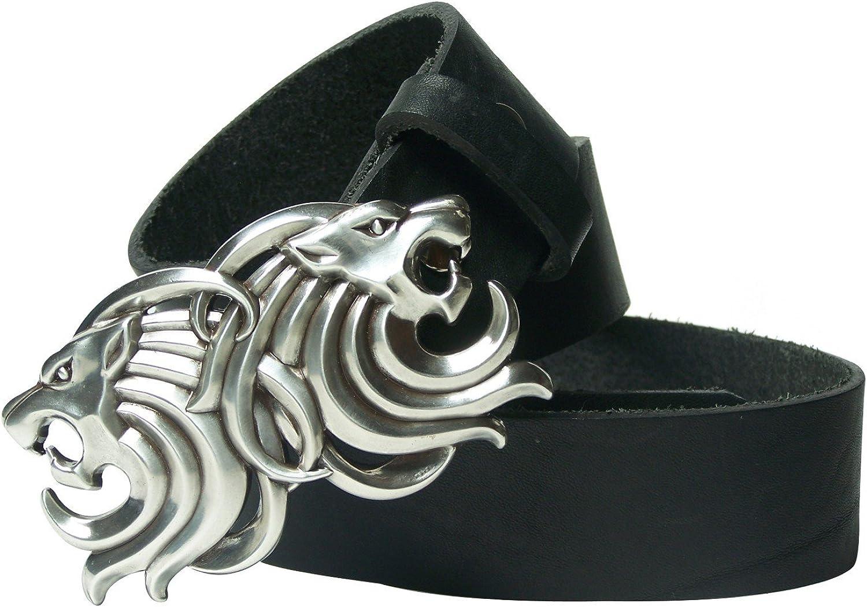 FRONHOFER Belt, lion head buckle, leather belt with a silver buckle, 1.5' 4cm, Size waist size 43.5 IN XL EU 110 cm, color Black