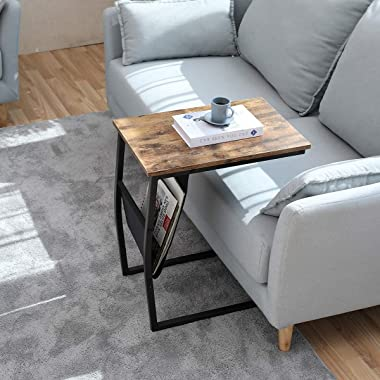 Bonzy Home Snack Side Table with Storage C Shaped End Table for Sofa Couch,Living Room,Bedroom & Small Spaces