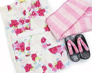 【女の子浴衣3点セット(100)】【白地系/ピンク系】3?4歳 兵児帯 下駄 キッズ ガールズ