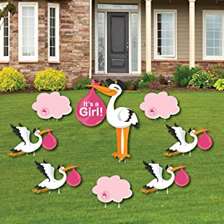 Girl Special Delivery - Baby Announcement Yard Sign & Outdoor Lawn Decorations - Pink It's A Girl Stork Baby Shower Yard Signs - Set of 8