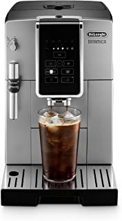 De'Longhi Dinamica Automatic Coffee & Espresso Machine TrueBrew (Iced-Coffee), Burr Grinder, Premium Adjustable Frother + Descaler, Cleaning Brush & Bean Icecube Tray, Stainless Steel, ECAM35025SB