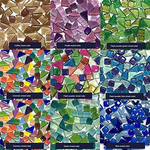 ASSR Azulejos de mosaico hechos a mano, 570 piezas creativas para niños de colores y formas mezcladas para decoración de manualidades con brillantes piedras