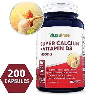Super Calcium 1500mg with Vitamin D 1000IU 200 Powder Caps (Non-GMO & Gluten Free) Helps to Prevent Bone Loss, Osteoporosis