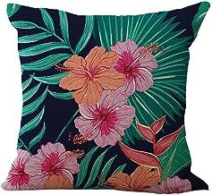 ChezMax Linen Blend Tropic Plants Pattern Sofa Seat Cushion Cover Cotton Pillowslip Square Decorative Throw Pillow Case 18...