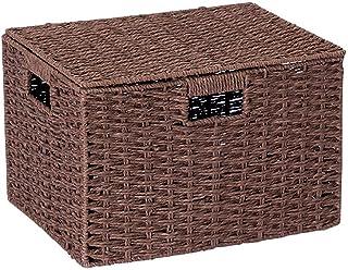ZTMN Panier de Rangement Boîte de Rangement de Paille Boîte de Rangement de Livre de Bureau de boîte de Rangement de rotin...
