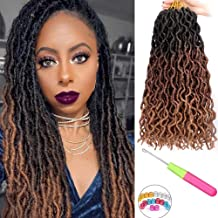 6 packs Gypsy Locs Crochet Goddess Faux Locs Ombre Curly Wavy Nu Locs Twist Braiding Hair Extensions Dreadlocks Hair 18 inches for Braiding 18 Strands Per Pack(Black/Dark brown/Light brown)
