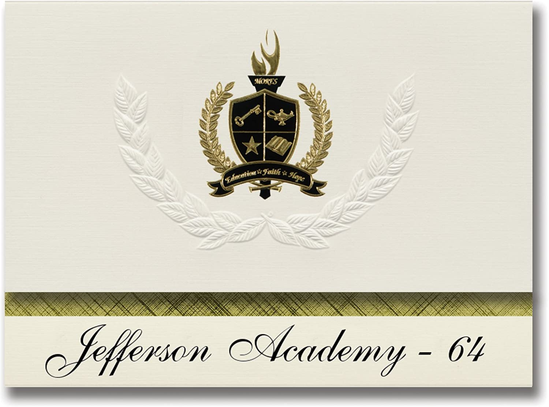 Signature Ankündigungen Jefferson Academy – 64 64 64 (Rapid City, SD) Graduation Ankündigungen, Presidential Stil, Elite Paket 25 Stück mit Gold & Schwarz Metallic Folie Dichtung B078WGKGWP    | Exzellente Verarbeitung  1c1d76