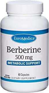 EuroMedica Berberine 500 mg - 60 Capsules - Indian Barberry - Metabolic Support, Healthy Blood Sugar Levels - Non-GMO, Veg...