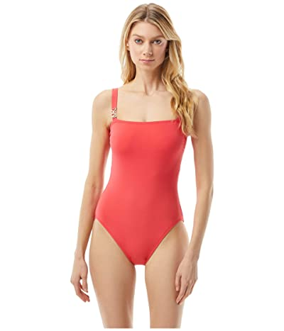 MICHAEL Michael Kors Logo Solid Square Neck One-Piece (Geranium) Women