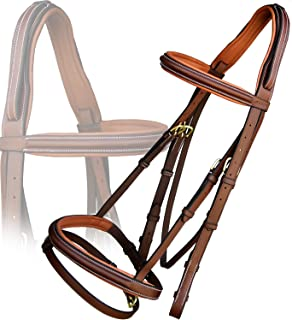 ExionPro Anti Pressure Cut Head Piece Raised Padded Leather Bridle with PP Rubber Grip Reins and Brass Buckles   Equestrian Show Jumping Padded Bridle Set   English Horse Riding Premium Tack