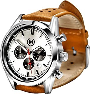 Marchand Tourer Mk2 Racing Watch | Racing Chronograph Watch for Men | British Designed | Perfect As A Race or Dress | Silver Dial | Tan Leather Band | 100M Water Resistant | 24 Month Warranty