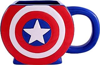 Marvel Sculpted Silver Buffalo MC4795 Captain America Shield 3D Ceramic Mug, 20-ounces, Red White and Blue