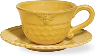 Boston International Honeycomb Ceramic Teacup and Saucer, Honey