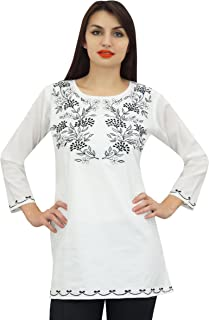 Phagun Women's Floral Embroidery Full Sleeves Casual Tunic Summer Top