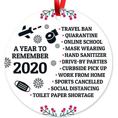 "2020 Christmas Ornaments, Quarantine Christmas Decorations, Toilet Paper Crisis, Large 3.75"" Round Metal Ornament, Velvet Pouch Included, Soul Décor by SIGO Signs"