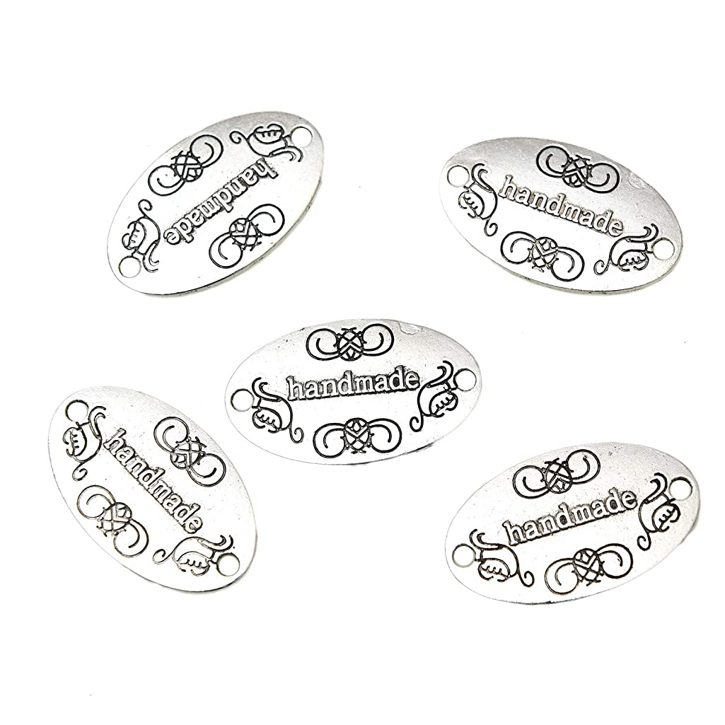 Monrocco 50 Pcs Handmade Labels Tags Handmade Jewelry Tags Signs for Jewelry Charms Craft Making (Antique Silver)