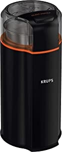 KRUPS Silent Vortex Electric Grinder for Spice,Dry Herbs and Coffee, 12-Cups, Black