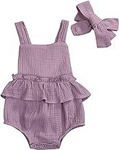 Newborn Infant Baby Girl Clothes Halter Backless Jumpsuit Romper Bodysuit Sunsuit Outfits Set (Purple, 3-6 Months)
