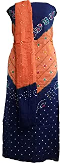 A.K.CREATION Women's Cotton Tie and Die Kutchi Bandhani Dress Material with Thread and Mirror Work (Cream, Free Size)
