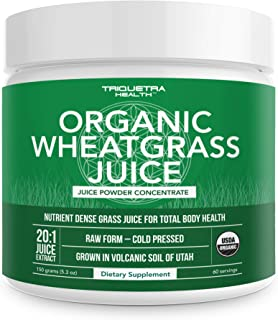 Organic Wheatgrass Juice Powder - Grown in Volcanic Soil of Utah - Raw & BioActive Form, Cold-Pressed Then ...