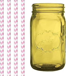 Dress My Cupcake Amber Yellow Vintage Jardin Mason Jar with Bubblegum Pink Chevron Straws, 32-Ounce