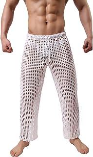 sandbank Men's Pajamas Sexy Mesh Hollow Openwork Drawstring See Through Lounge Long Pants Pajamas Bottoms