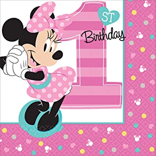 amscan 1st Birthday Minnie Mouse Beverage Napkins 16 Count Party Supplies Minnie Fun to be One!