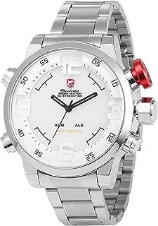 Gulper Shark Men's LED Digital Date Day Black Dial Alarm Stainless Steel Sport Quartz Wrist Watch SH103