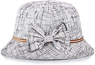 HongJie Hou Hat Ladies Middle-Aged Linen Breathable Fashion Elegant Shade hat Wholesale (Color : Grey, Size : M56-58cm)
