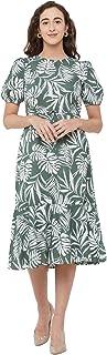 109 F Women's Polyester Olive Printed Below Knee Dress