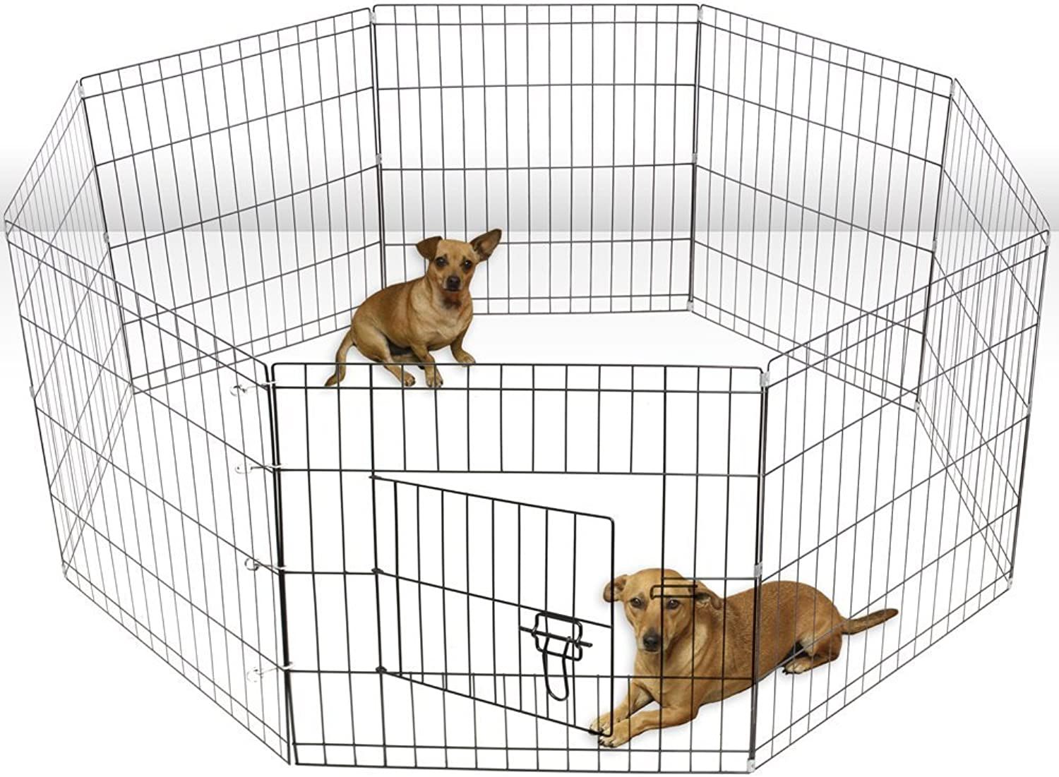 Aleko 24 Inch Dog Playpen Pet Kennel Pen Exercise Cage Fence 8 Panel