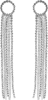 Rosemarie Collections Women's Crystal Rhinestone Circle and Extra Long Fringe Drop Earrings