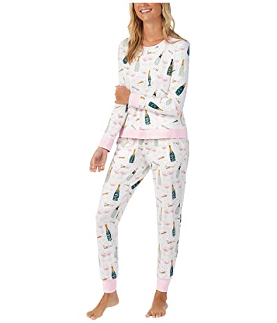 BedHead Pajamas Long Sleeve Crew Neck Joggers Pajama Set (Cheers) Women