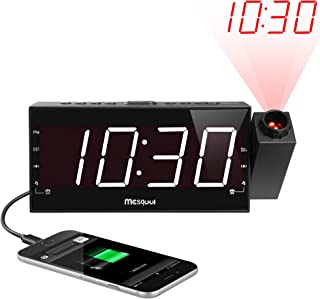 Mesqool Projection Alarm Clock for Bedroom – AM FM Radio & Sleep Timer, 180°..