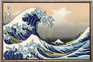 Eliteart-The Great Wave Off Kanagawa by Katsushika Hokusai Reproduction Giclee Art Canvas Prints-Framed size:21 1/4
